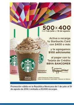 Starbucks: $100 de regalo al recargar Starbucks Card con Bancomer