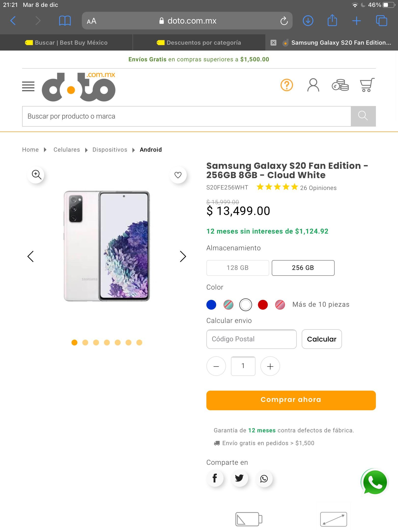 Doto: Samsung Galaxy S20 FE 256+8