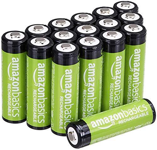 Amazon, 16 Pilas / Baterías AA, recargables (hasta 1,000 veces) y de 2,000 mAh de capacidad
