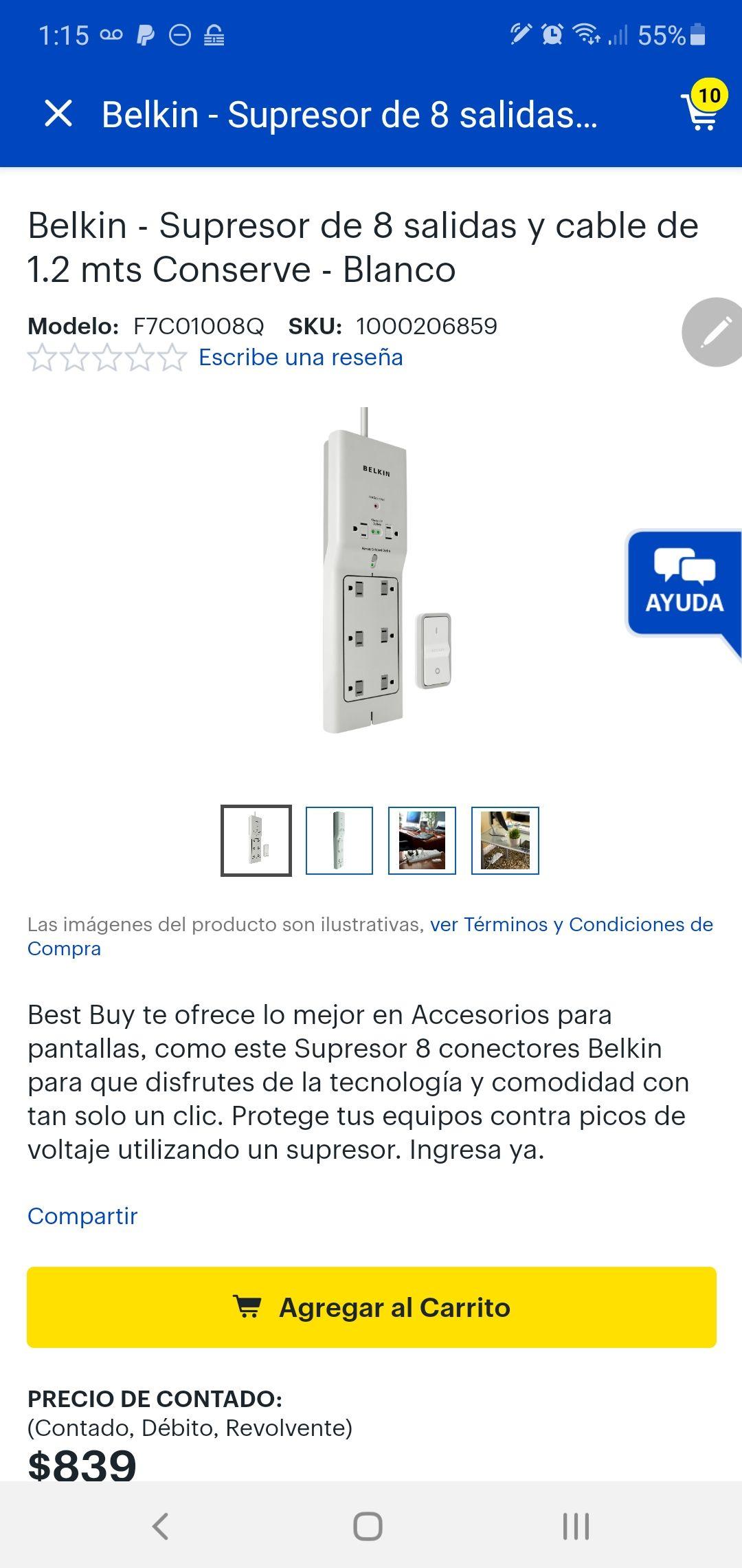BEST BUY Belkin - Supresor de 8 salidas a control remoto y cable de 1.2 mts Conserve - Blanco