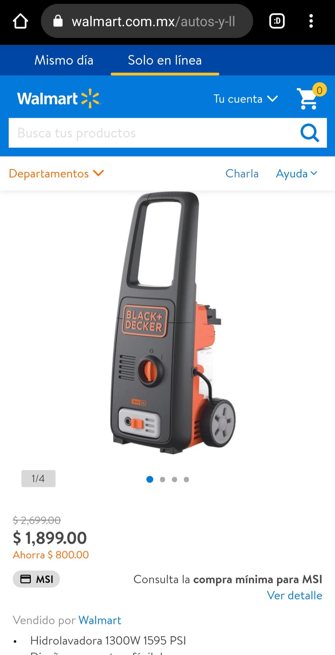Walmart en línea: hidrolavadora black and Decker 1595 psi