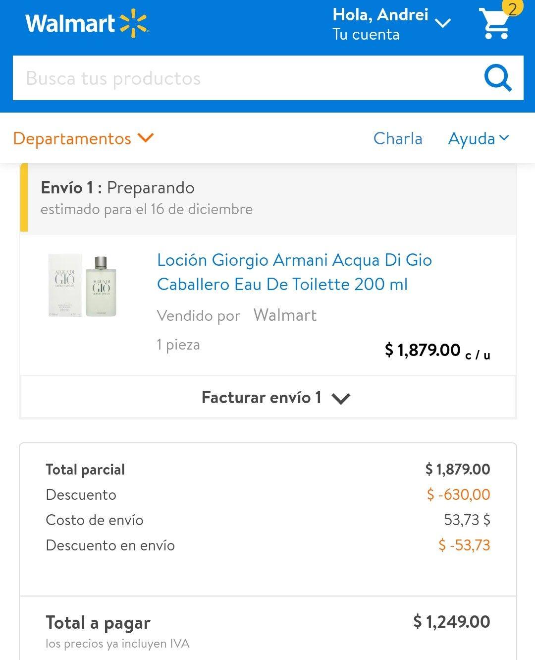 Walmart 200ml di aqua di gio vendido por walmar directamente