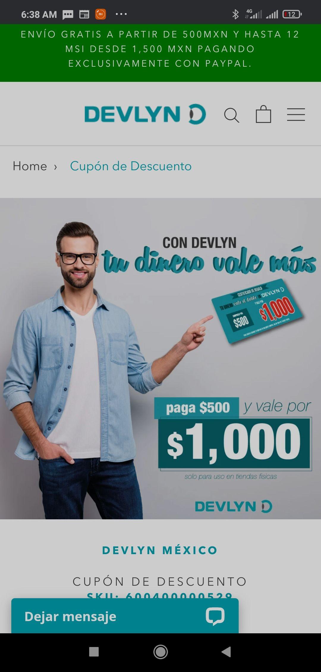 Devlyn: te regala $500 comprando cupón de $500