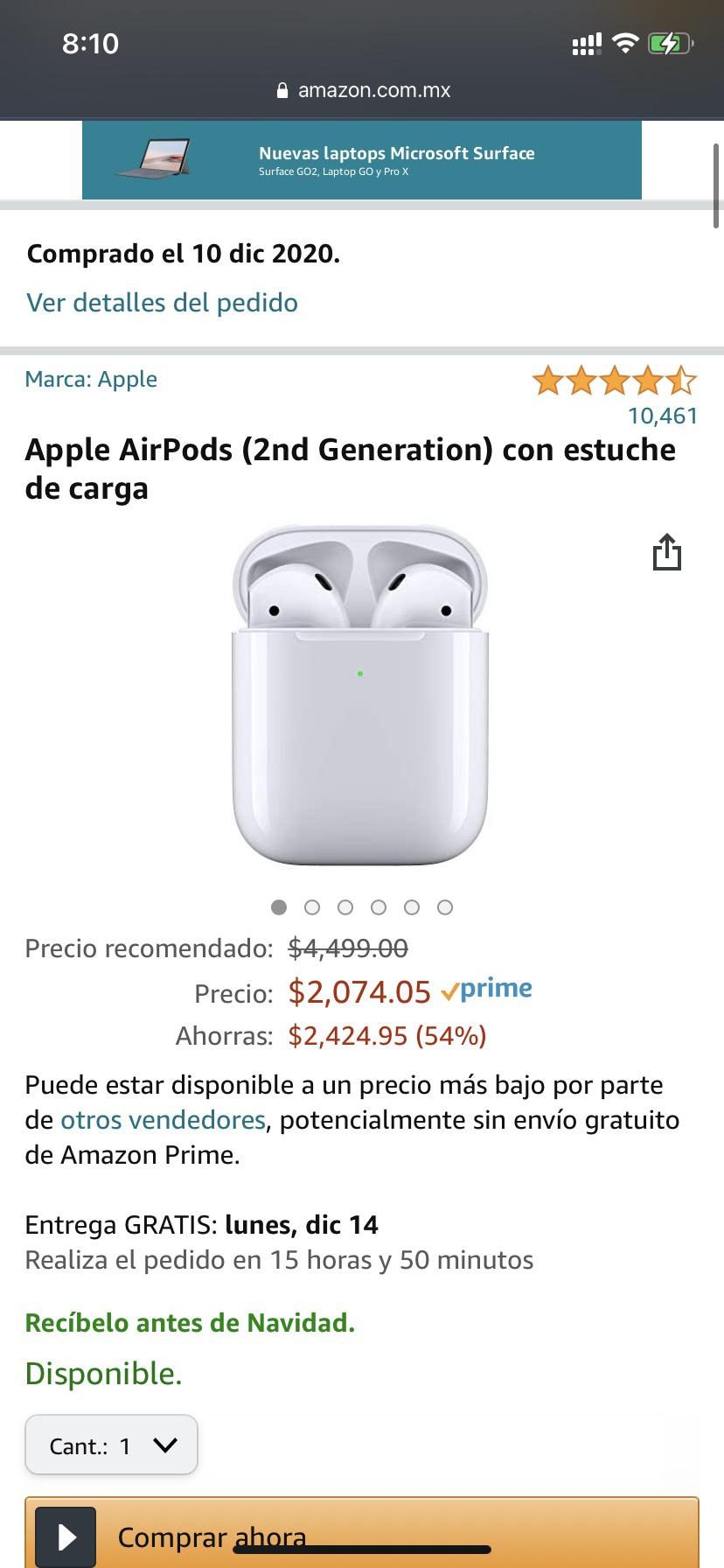 Amazon, Apple AirPods (2nd Generation) con estuche de carga