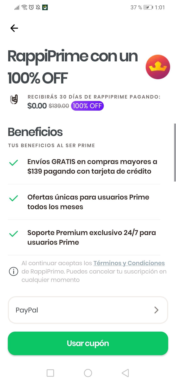 Rappi: Cupon Prime 100% usuarios seleccionados