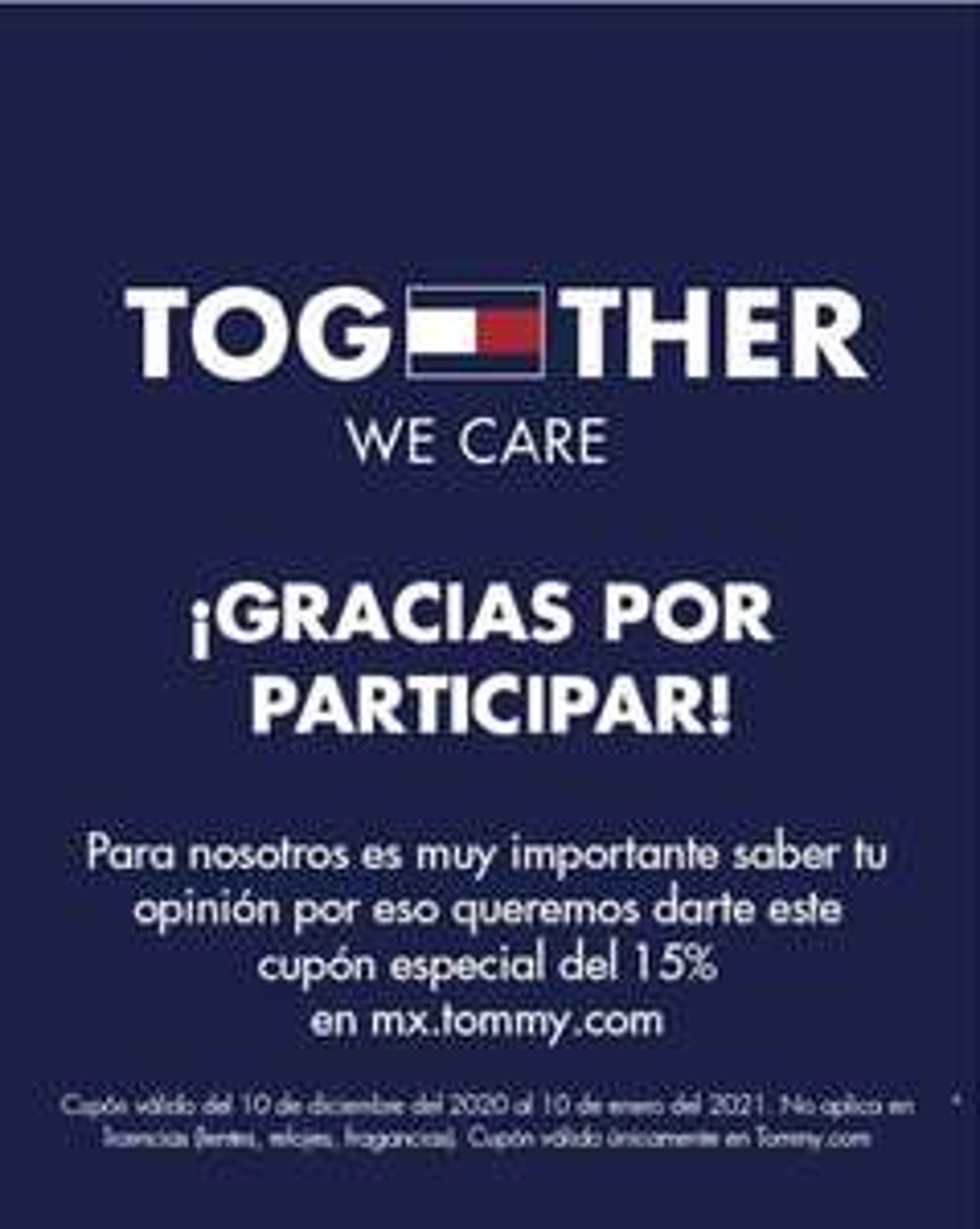 Cupón 15% Tommy Hilfiger (Encuesta) + (Envío gratis: link)
