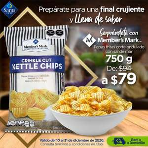 Sam's Club: Papas Fritas con Sal de Mar Member's Mark Corte Ondulado 750 g EN CLUB