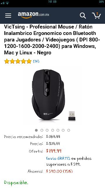 Amazon: mouse inalábrico para gamers con 75%  descuento