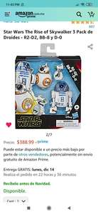 Amazon: Star Wars The Rise of Skywalker 3 Pack de Droides - R2-D2, BB-8 y D-0