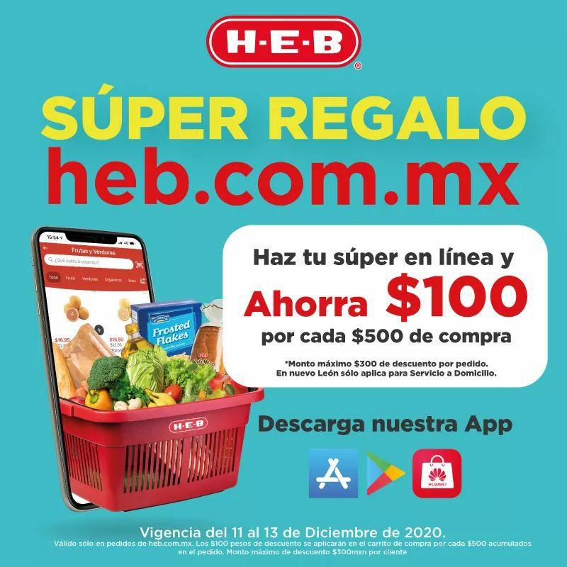 Heb: $100 de descuento por cada $500 sin cupón