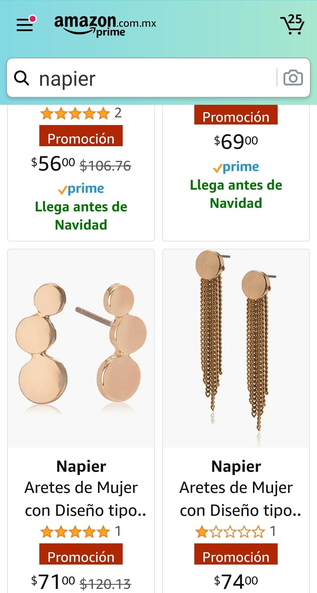 Amazon: aretes NAPIER con descuento