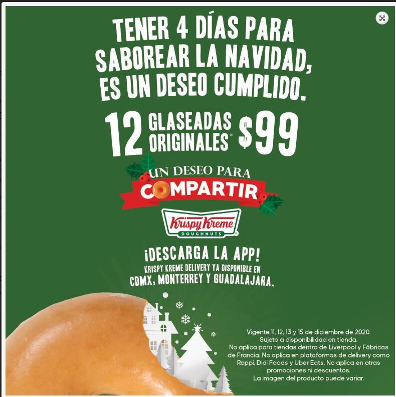 Krispy Kreme docena de glaseadas originales a $99 el 11, 12, 13 y 15 de diciembre