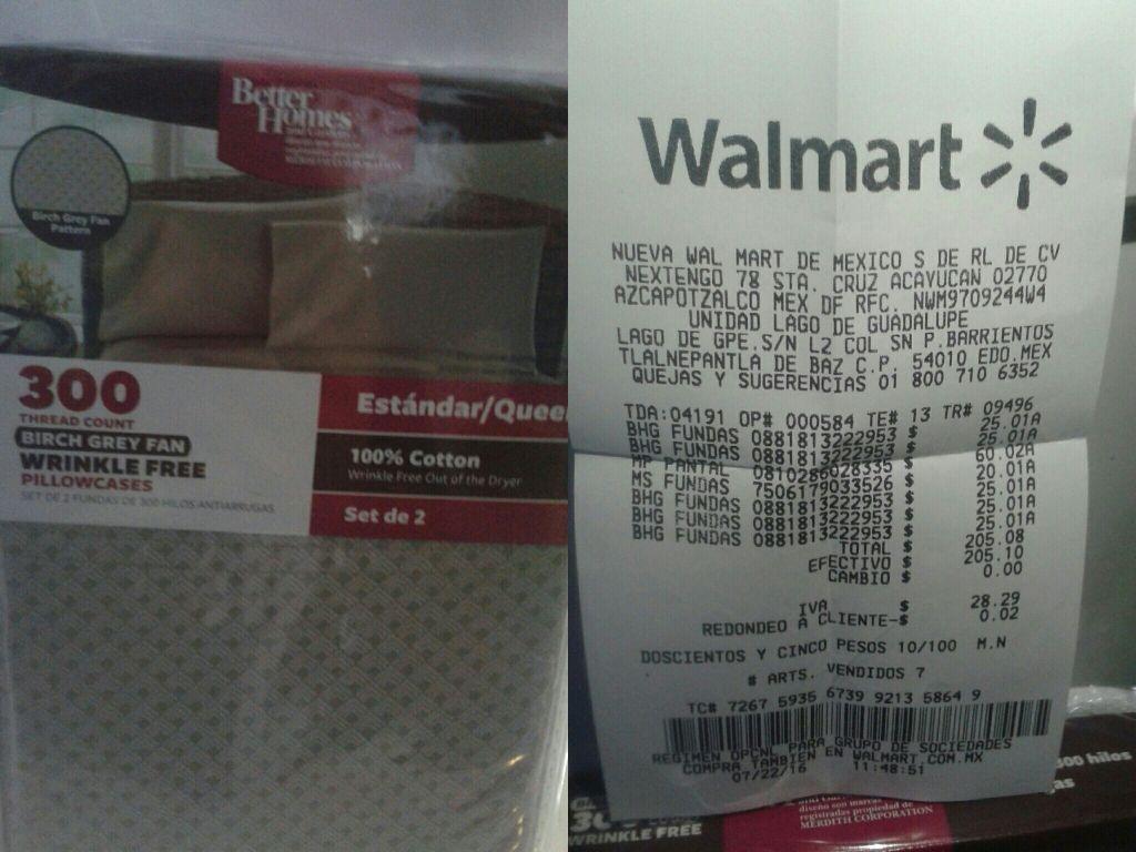 Walmart: fundas para almohada Better Homeca $25.01