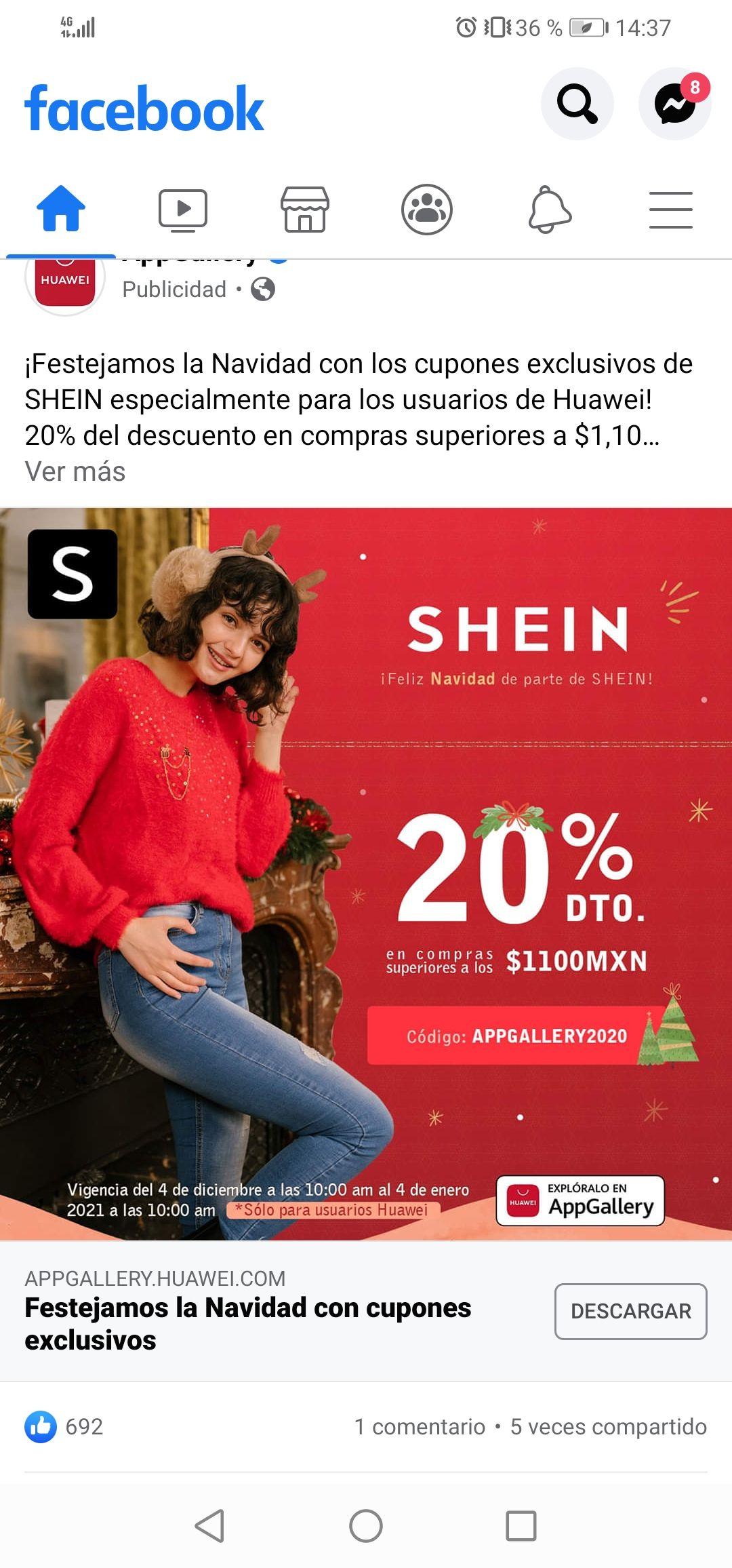 SHEIN: 20% de descuento con código para usuarios huawei