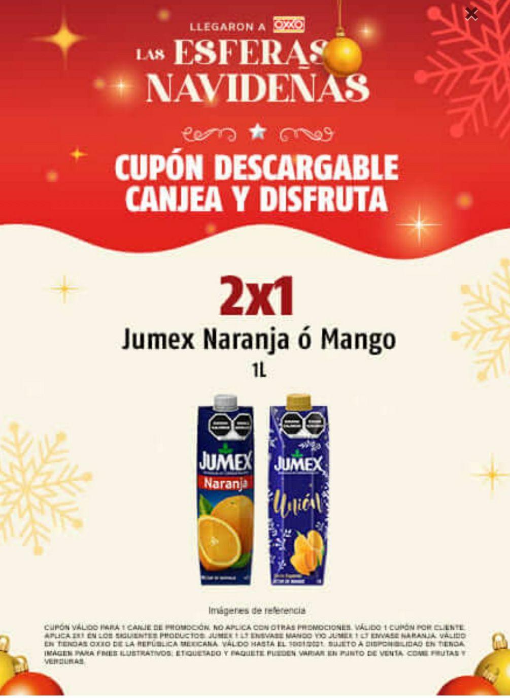 OXXO 2X1 y 3X2 EN JUGOS JUMEX DE 1LT SOLO NARANJA O MANGO