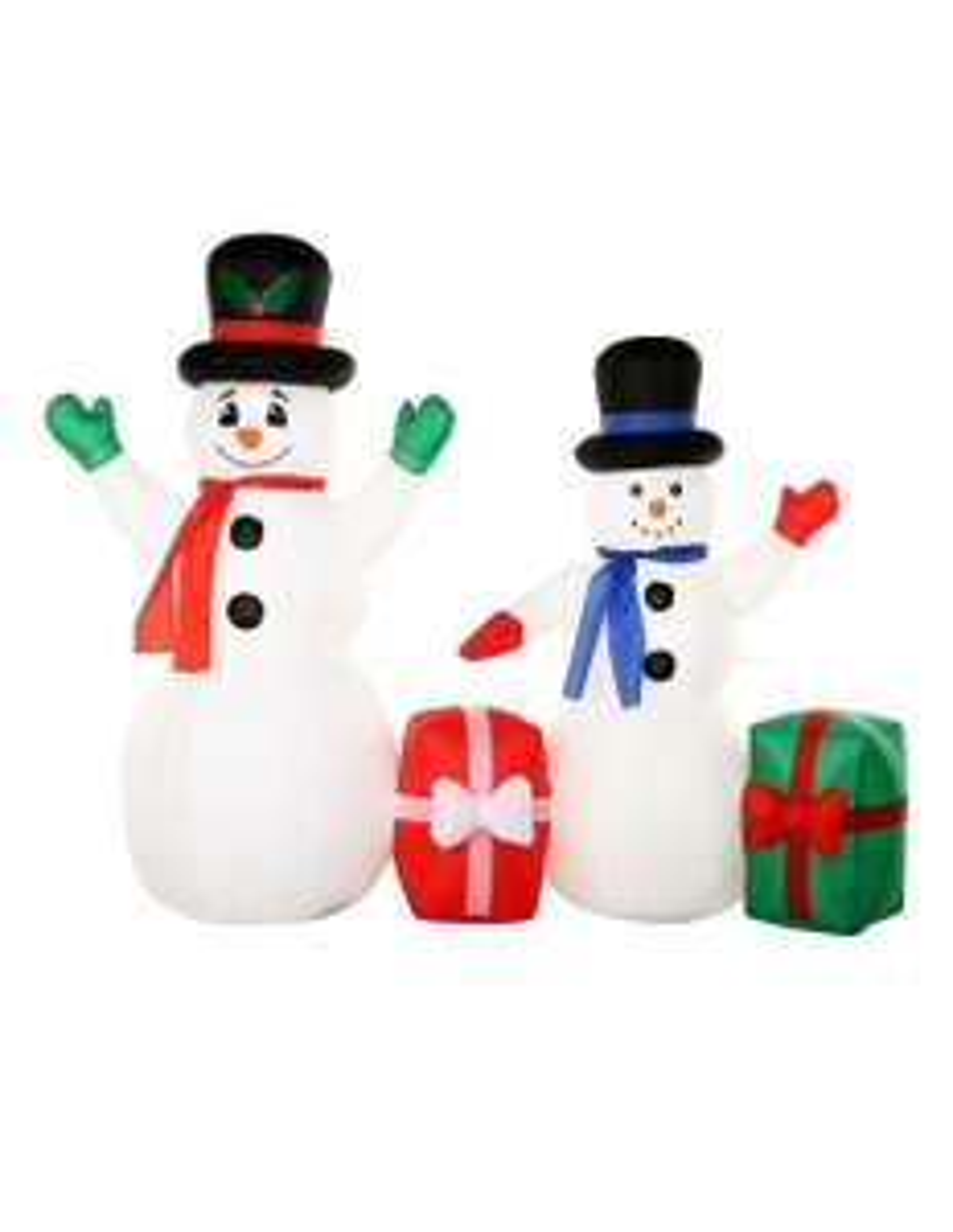 Liverpool:Inflable exterior Snowman con regalo Haus blanco