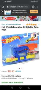 Amazon: Hot Wheels Lanzador de Bolsillo, Auto Rojo