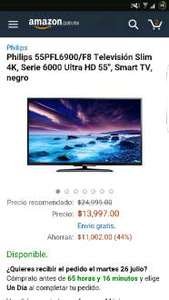 "Amazon: Philips 55"" SmartTv 4k serie 6000 a $13,999"