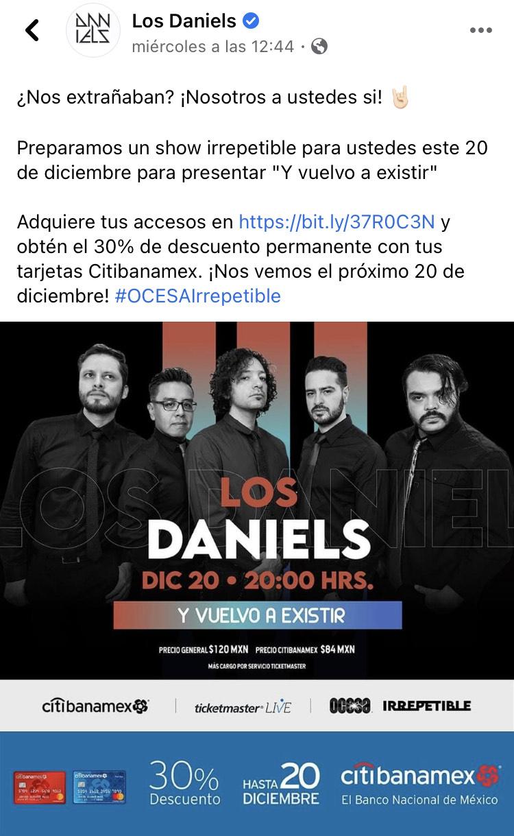 30% Descuento concierto Los Daniels