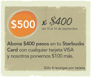 Promociones de Aniversario Starbucks: $100 de regalo al abonar $400 a tu Starbucks Card