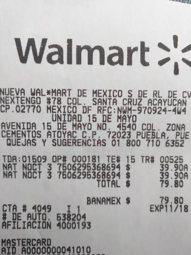 Walmart 15 de Mayo Puebla: toalla sanitaria Naturella cuidado nocturno de 36 piezas a $39.90