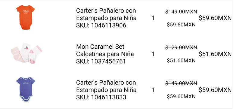 Liverpool en linea: Pañaleros Carter's $60