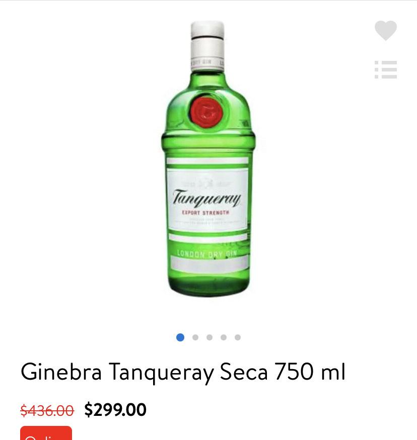 Walmart: Ginebra tanqueray 750 ml