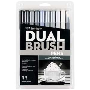 Amazon: Tombow Dual Brush Pen Art Markers, Grayscale, 10-Pack
