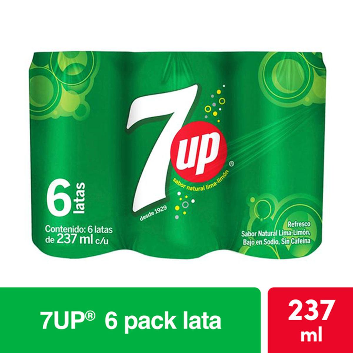 Chedraui: 7up 2x$70 Six pack Refrescos lata 237 ml