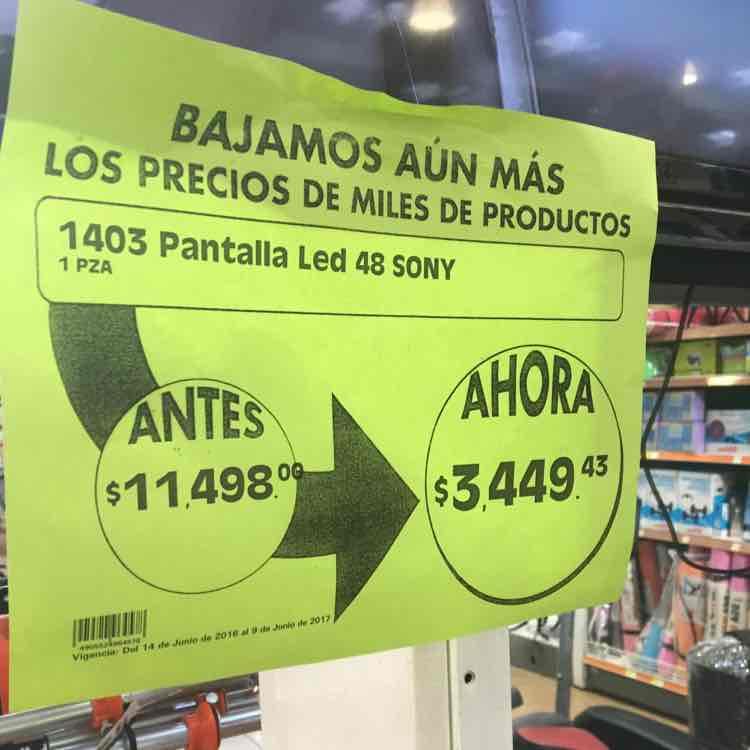 "Comercial Mexicana Mazatlán: Pantalla LED Sony 48"" a $3,449"