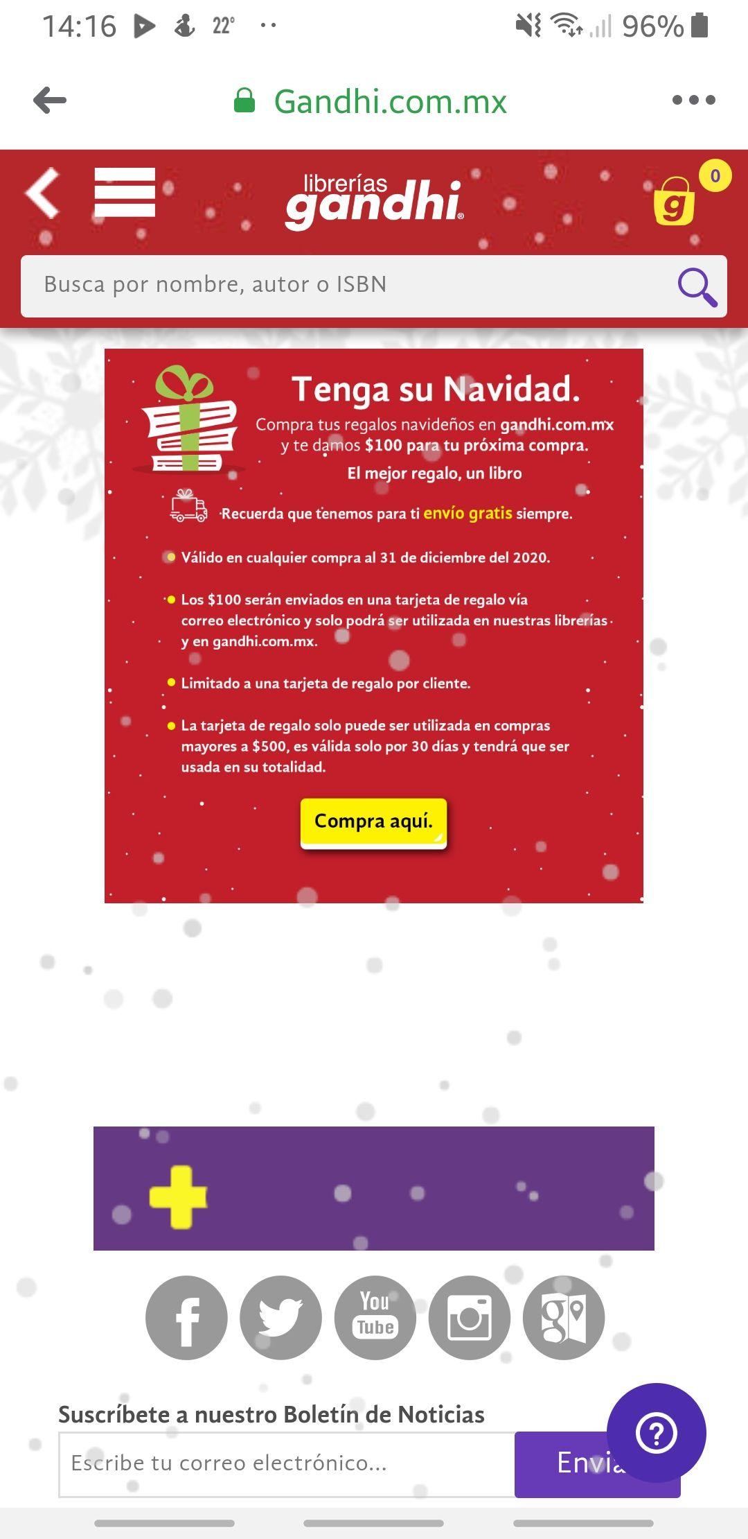 Gandhi: tarjeta de regalo de $100 al hacer compras navideñas