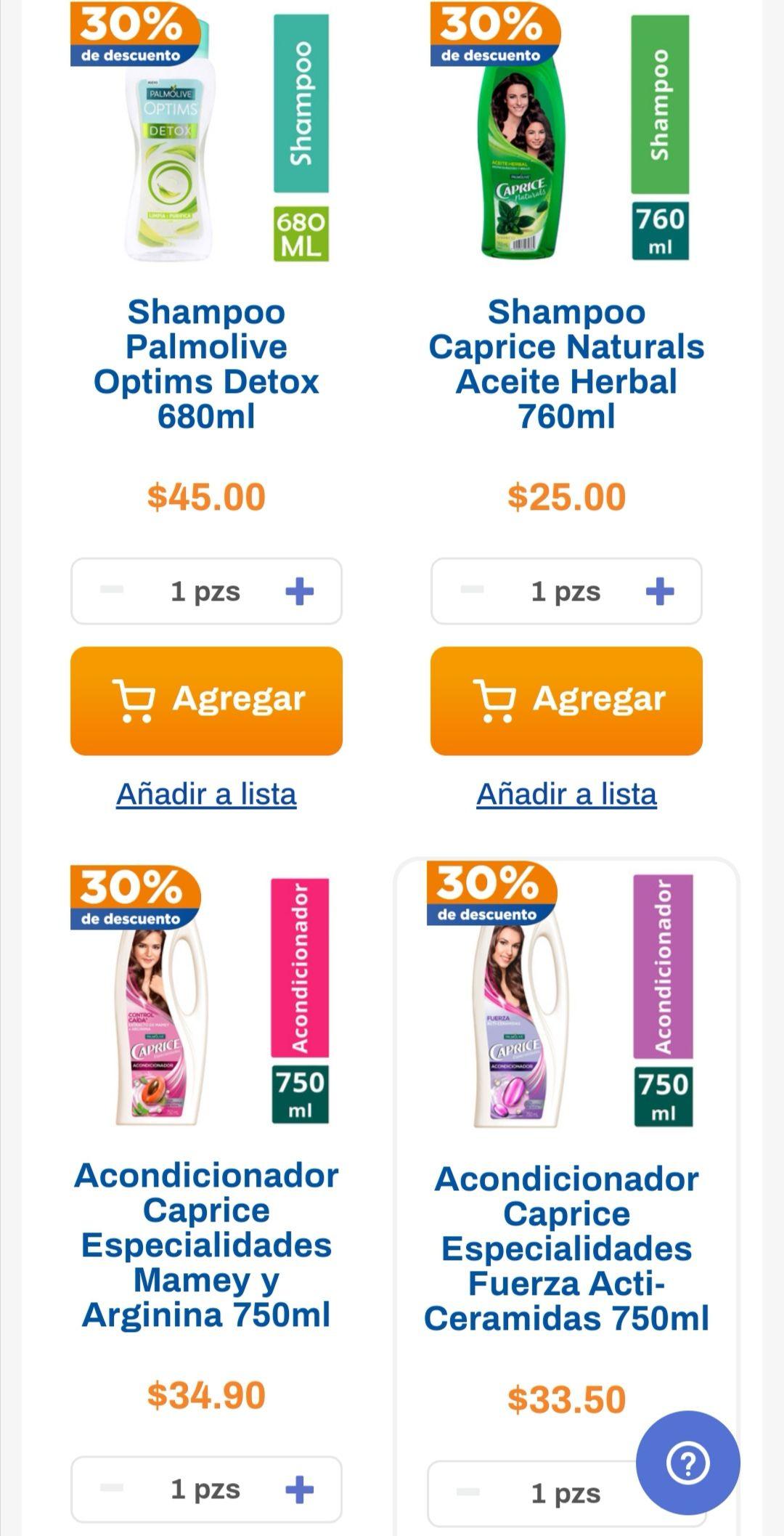 Chedraui: 30% de descuento en variedad de shampoos Caprice, Stefano y Optims