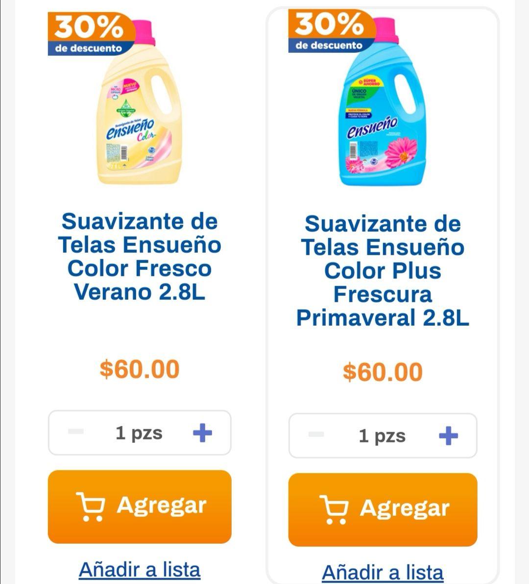 Chedraui: 30% de descuento en suavizantes Ensueño color 2.8 L verano y primaveral