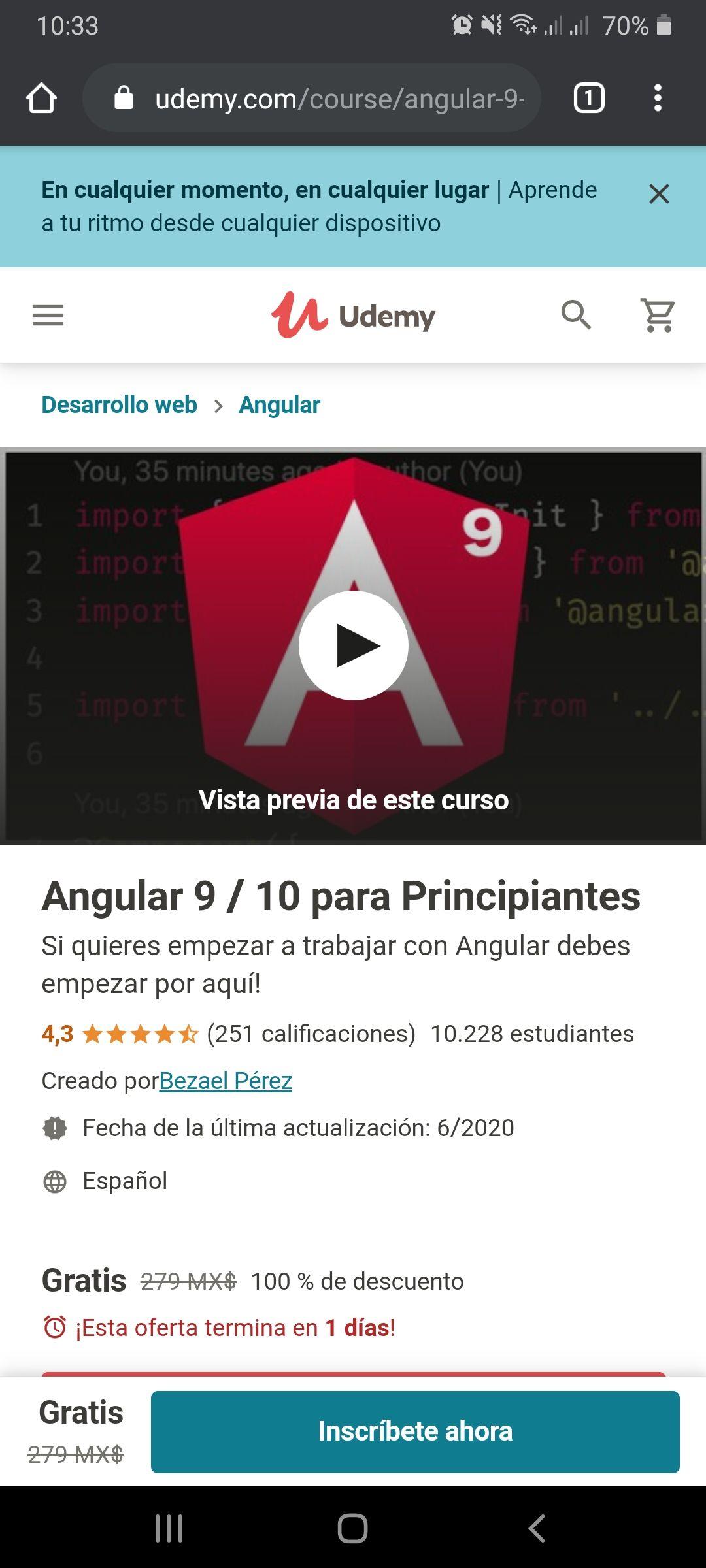 Udemy: Angular 9 / 10 para Principiantes