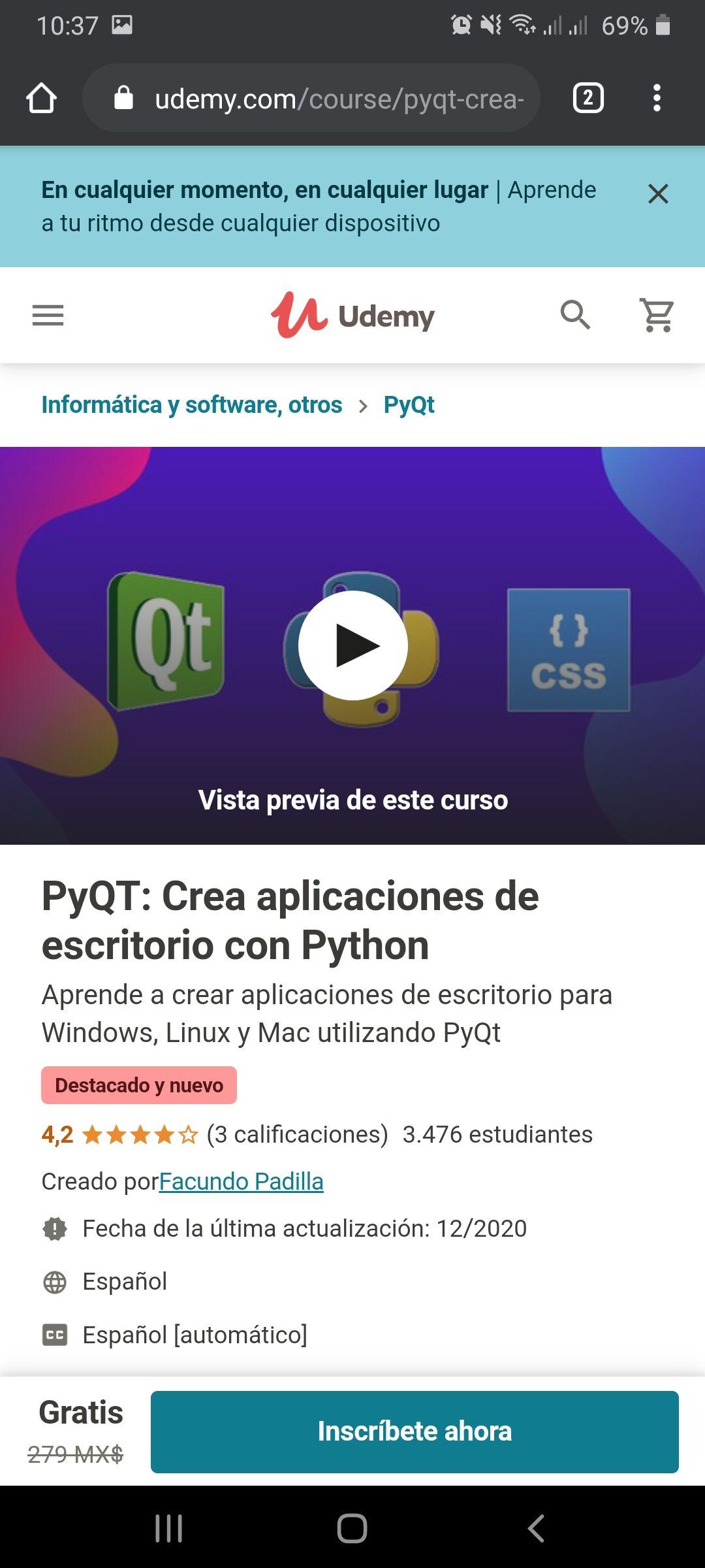 Udemy: PyQT: Crea aplicaciones de escritorio con Python