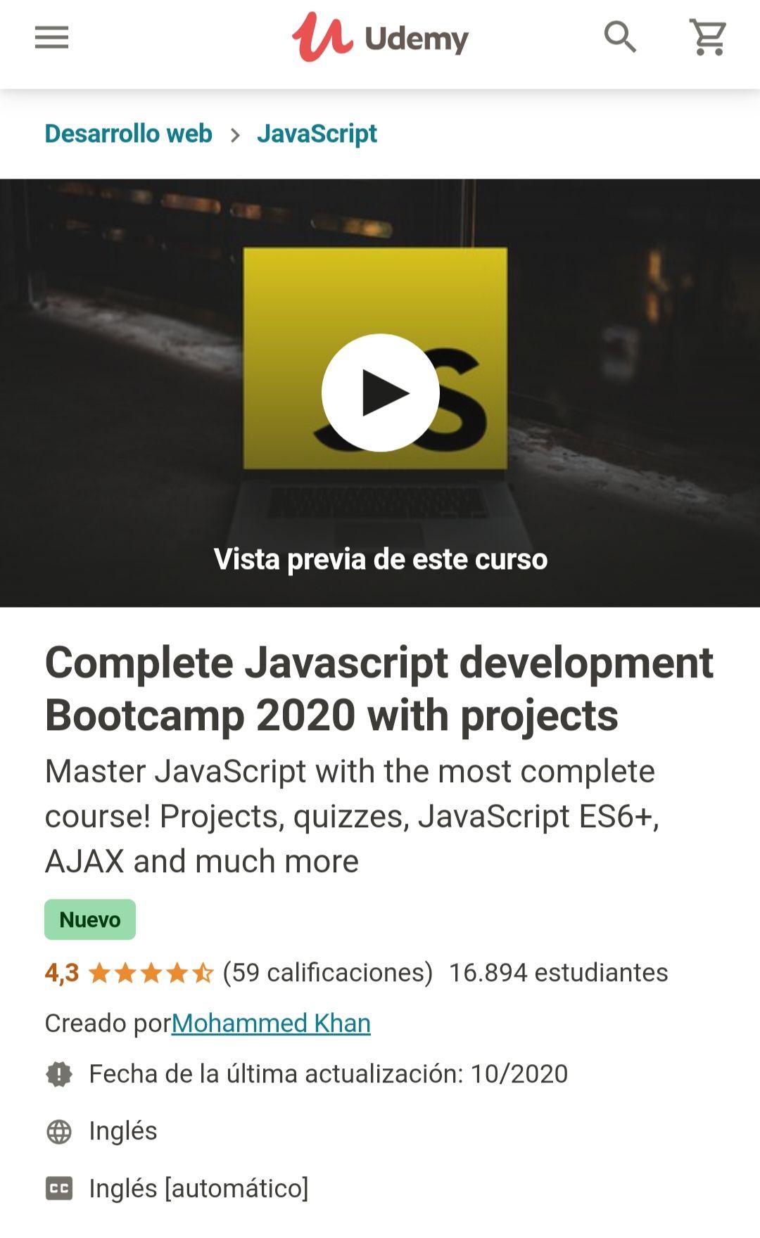 Udemy: Complete Javascript Development Bootcamp 2020