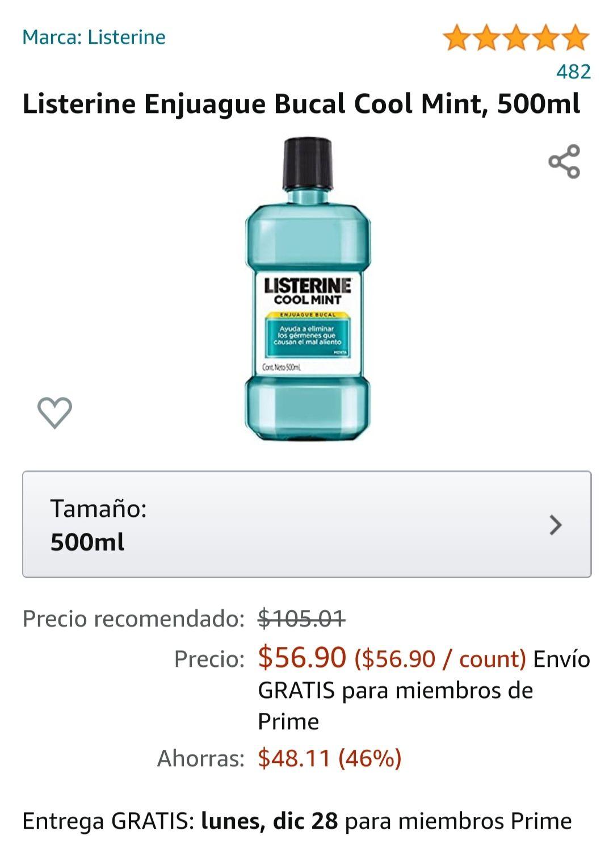 Amazon: Listerine ENJUAGUE BUCAL LISTERINE(MORADO Y AZUL,ZERO ALCOHOL)