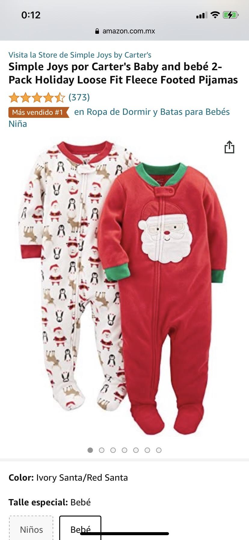 Amazon: pijama para bebé de navidad (2 piezas)