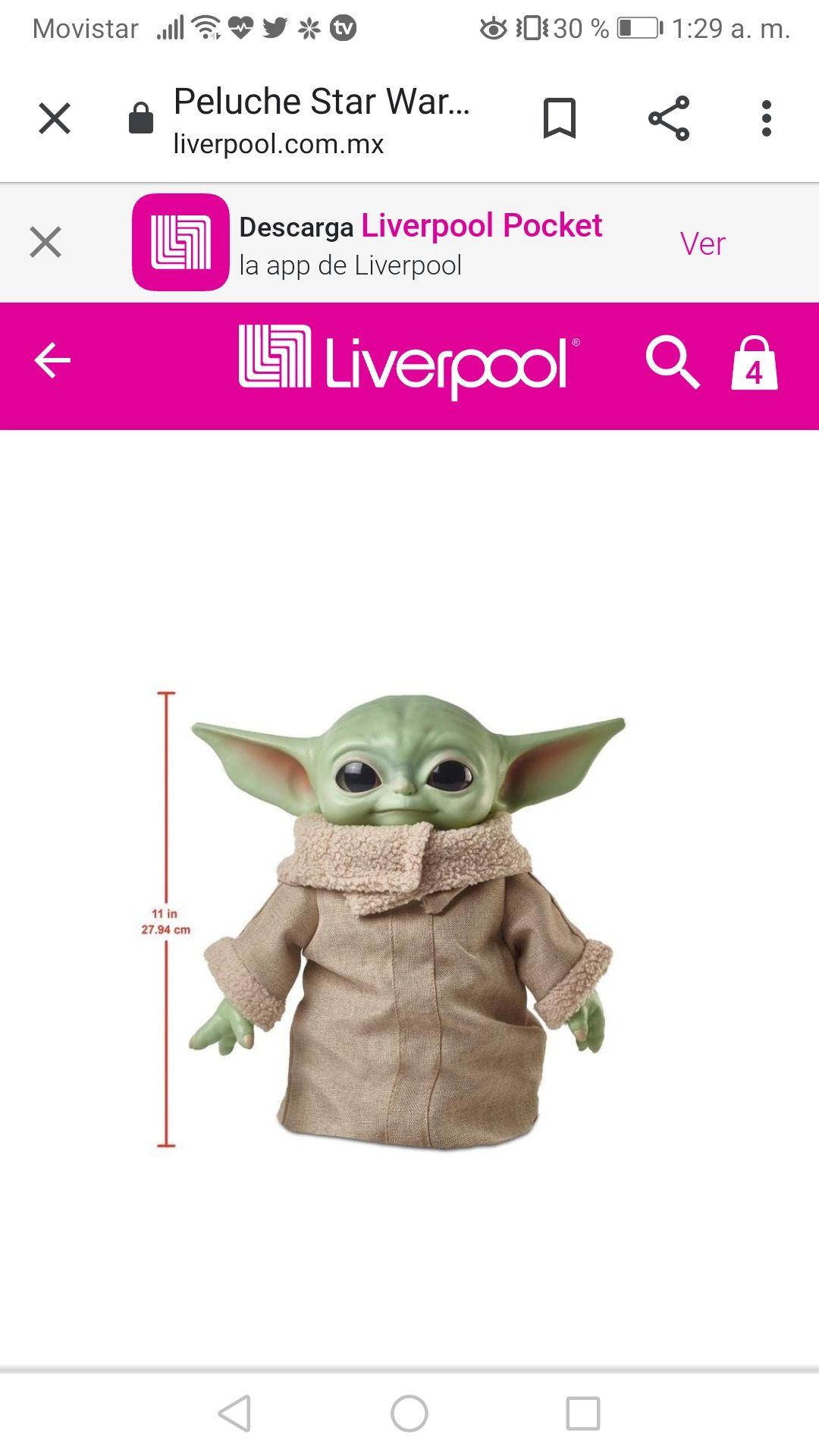 Liverpool:Baby yoda en 607 pesitos