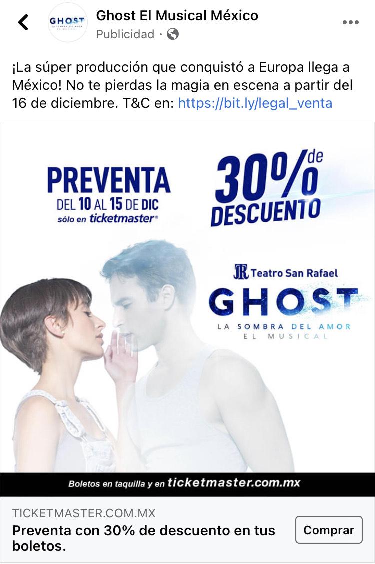 Ticketmaster: 30% Descuento - Preventa Ghost Musical