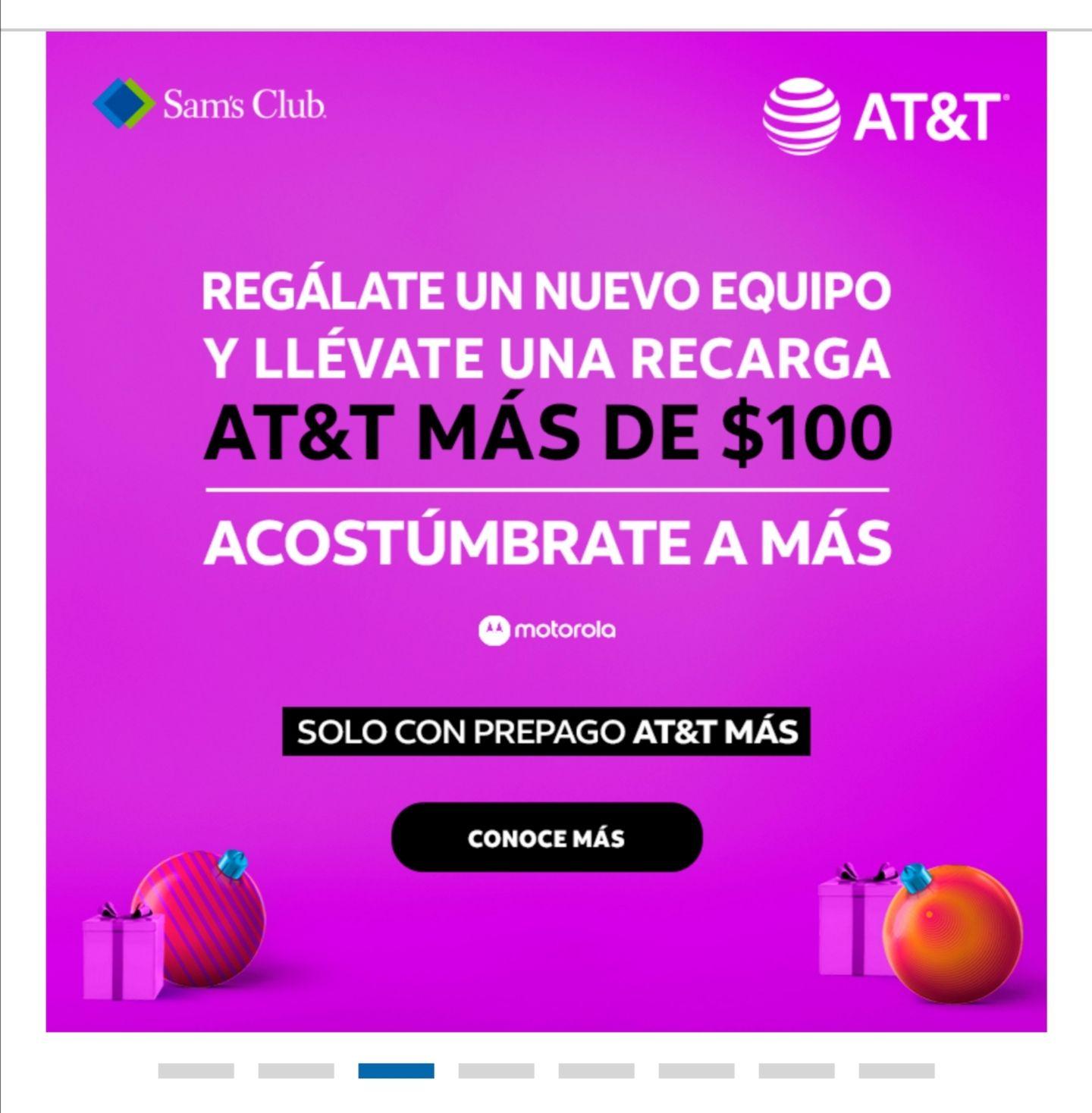 At&t: Tarjeta de regalo de $100 pesos en Sam's Club al adquirir un equipo en prepago con prepago AT&T MÁS