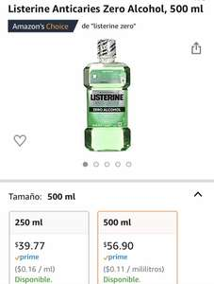 Amazon: Listerine Anticaries Zero Alcohol, 500 ml