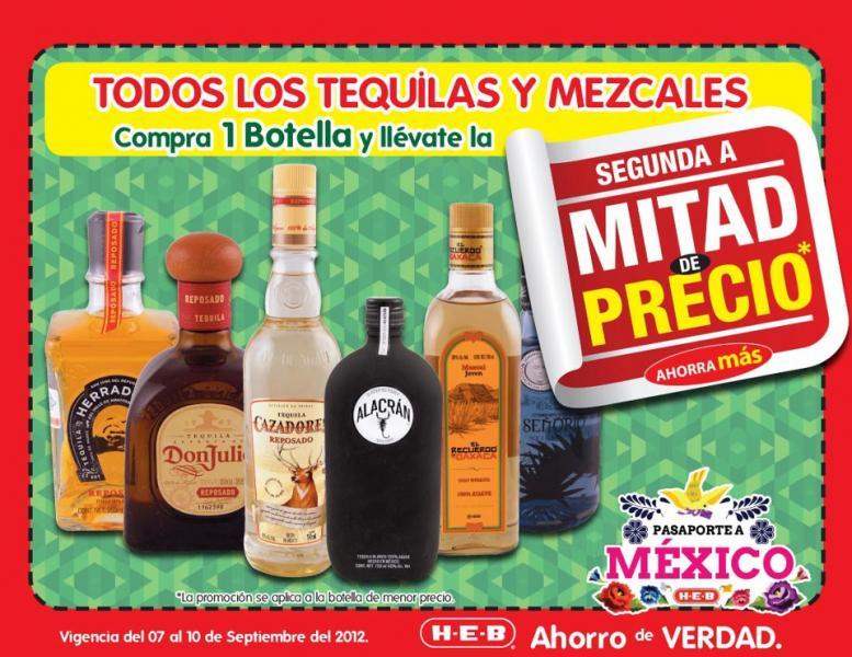HEB: todas las botellas de tequila o mezcal segunda a mitad de precio