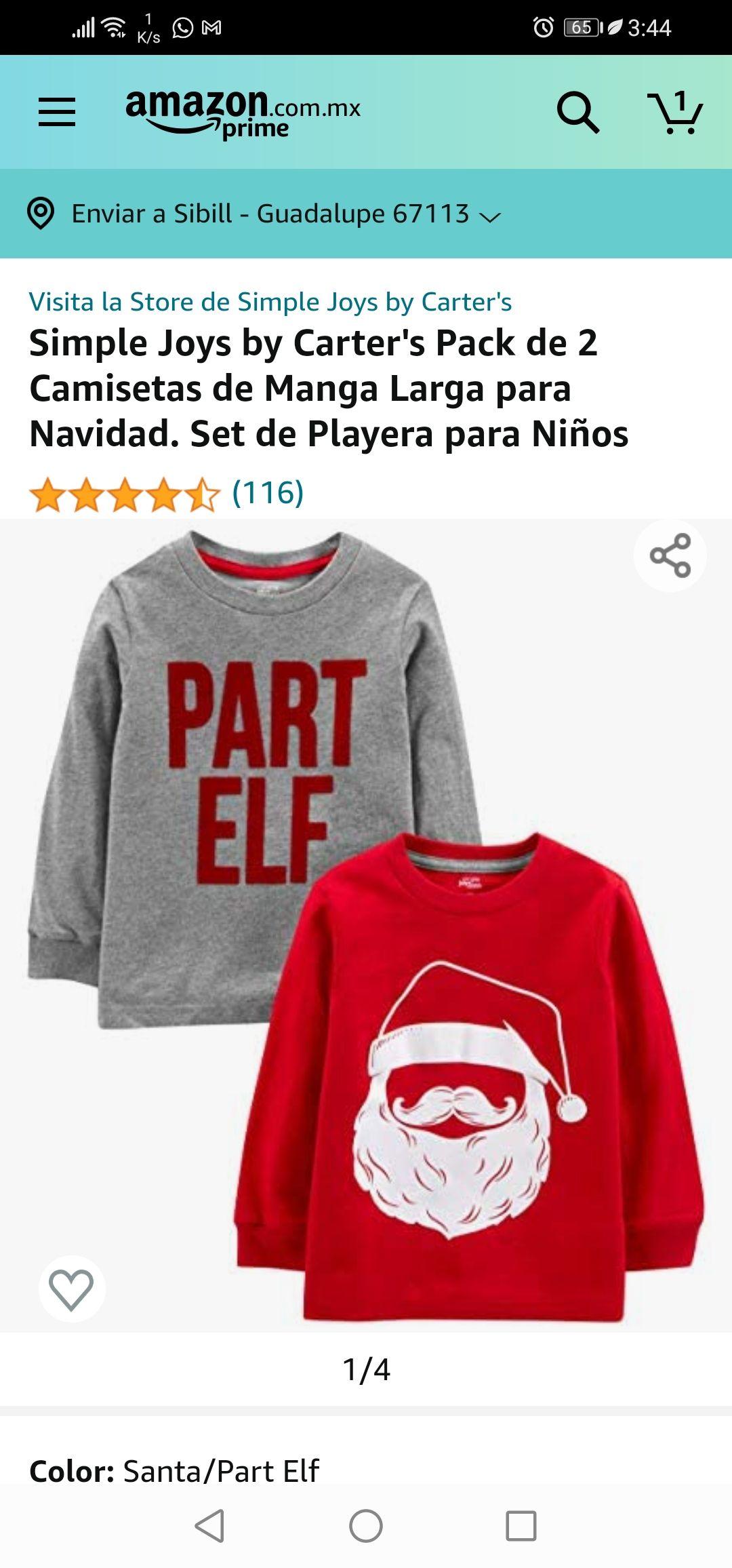 Amazon México: Pack de 2 Camisetas de Manga Larga para Navidad