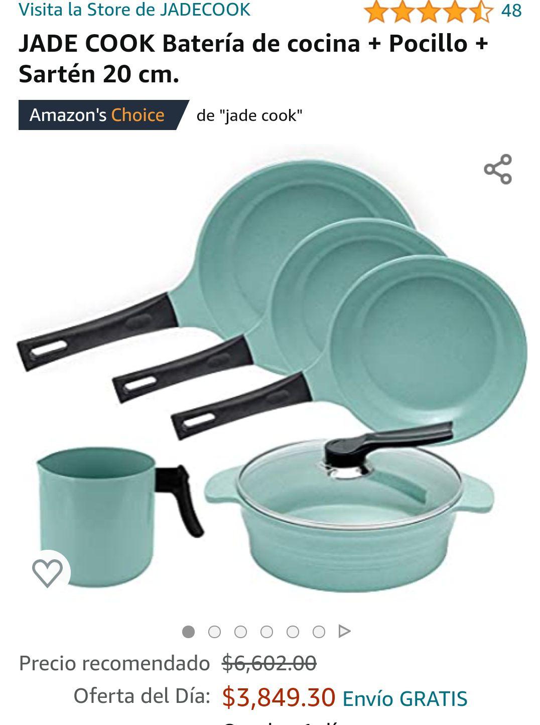 Amazon: JADE COOK Batería de cocina + Pocillo + Sartén 20 cm (OFERTA DEL DIA) PRECIO MAS BAJO EN AMAZON