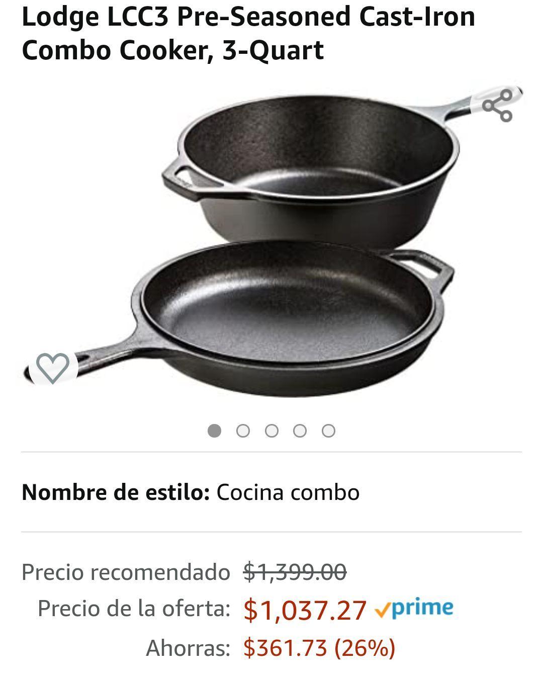 Amazon: Combo Lodge cacerola de hierro colado, dos piezas.