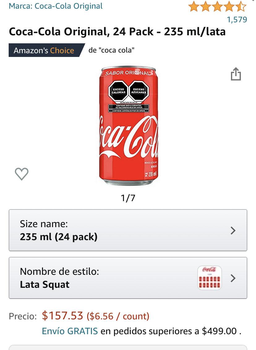 Amazon: 24 piezas coca cola original 235ml