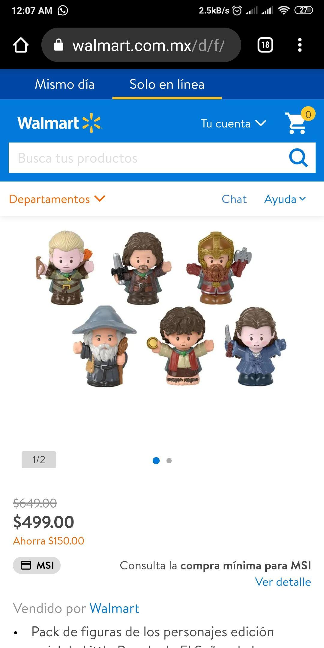 Walmart: Set de figuras Fisher-Price Little People Collector El Señor de los Anillos 6 Piezas