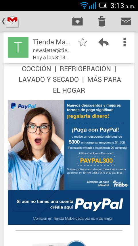 Pay Pal y Tienda Mabe en línea: $300 de descuento al pagar con PayPal monto mínimo $1,500 (primeras 30 personas)