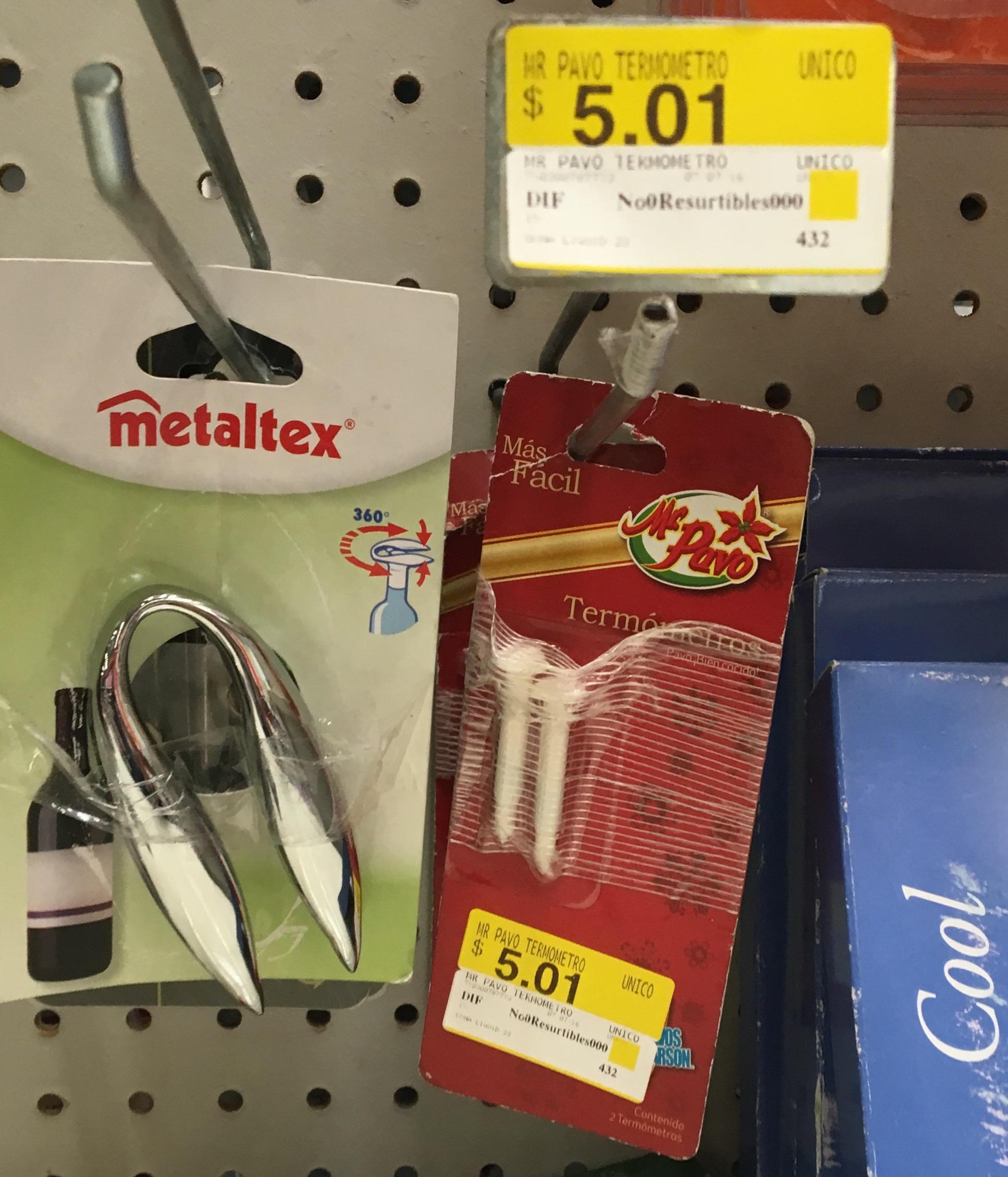 Walmart Tasqueña: termómetro para pavo bien cocido marca Mr. Pavo a $5.01